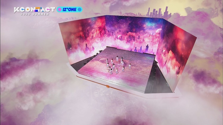 Stages set up using AR technology for performances by IZ*ONE