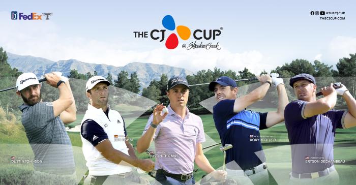 THE CJ CUP에 출전하는 세계랭킹 TOP5 (좌측부터 랭킹 순서 더스틴 존슨, 존 람, 저스틴 토마스, 로리 맥길로이, 브라이슨 디섐보)
