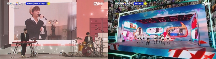 The online collaboration stage exclusive to 'KCON:TACT season 2' and Fan Featuring stage created by fans and artists. Left) DAY6(Even of Day) and ONF Hyojin, Right) IZ*ONE