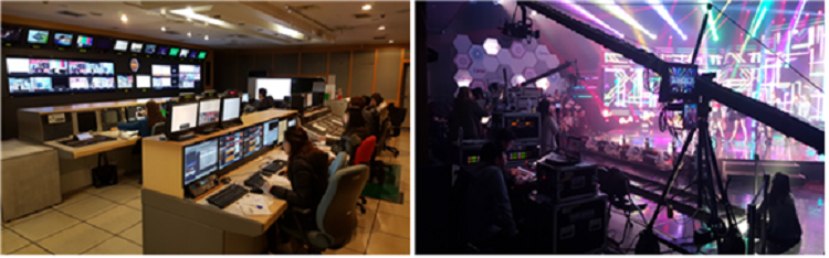 Arirang TV's sub-control room and studio