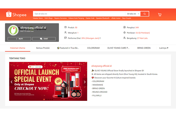 A screen shot of the Olive Young Store by CJ Olive Young on Shopee, the largest online shopping platform in Southeast Asia